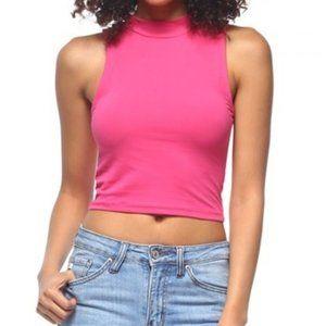 Stretch Knit Pink Mock Neck Crop Top. - #H7